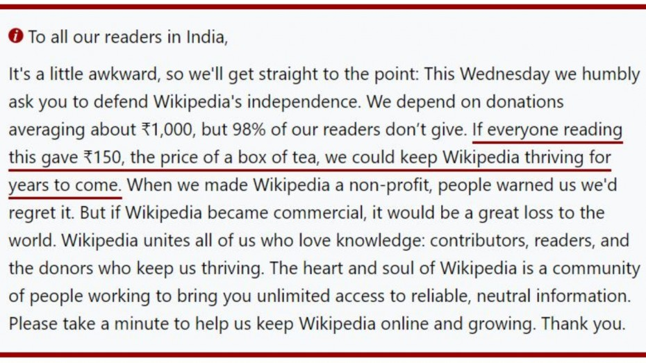 Wikipedia Removes Donation Notice For Indian Users After Paywall Rumours News Nation English