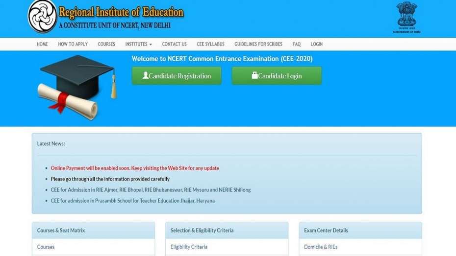 ncert rie cee application 2020